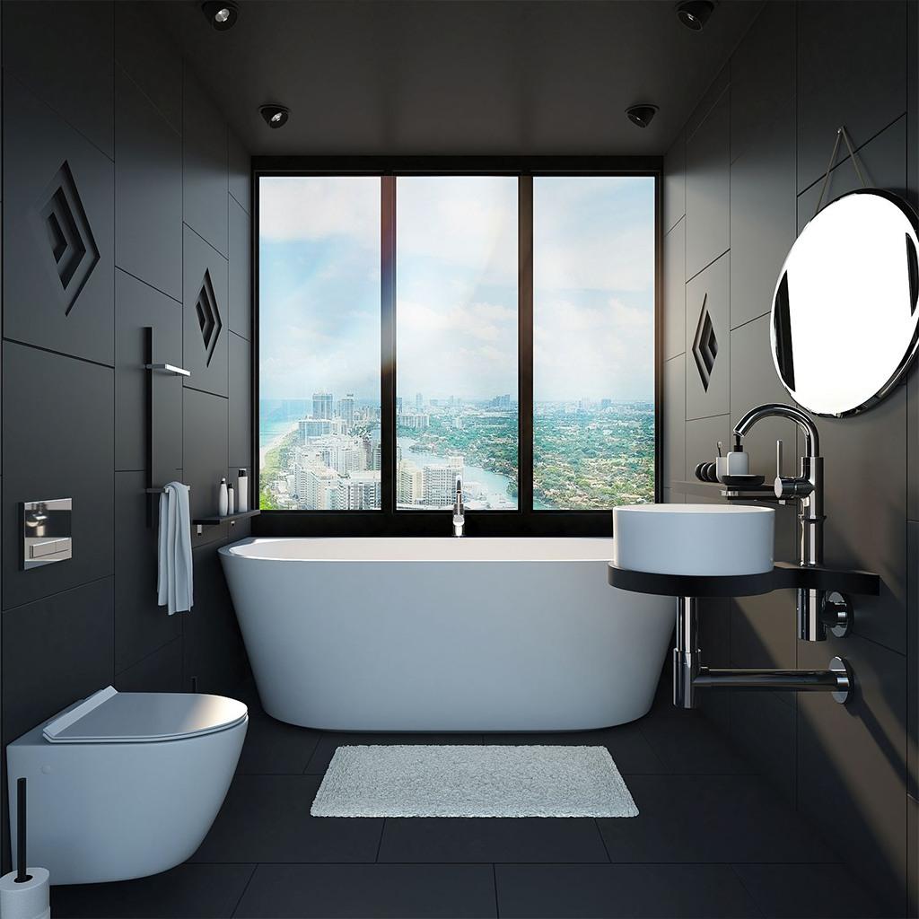 czarna męska łazienka