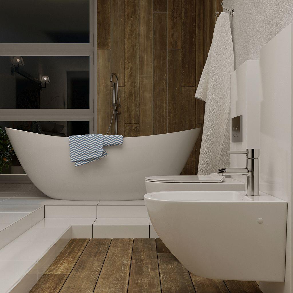 Drewniana łazienka ze stopniem