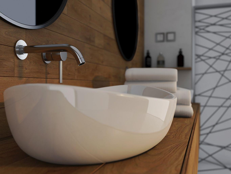 Drewniana półka na umywalkę wizualizacja