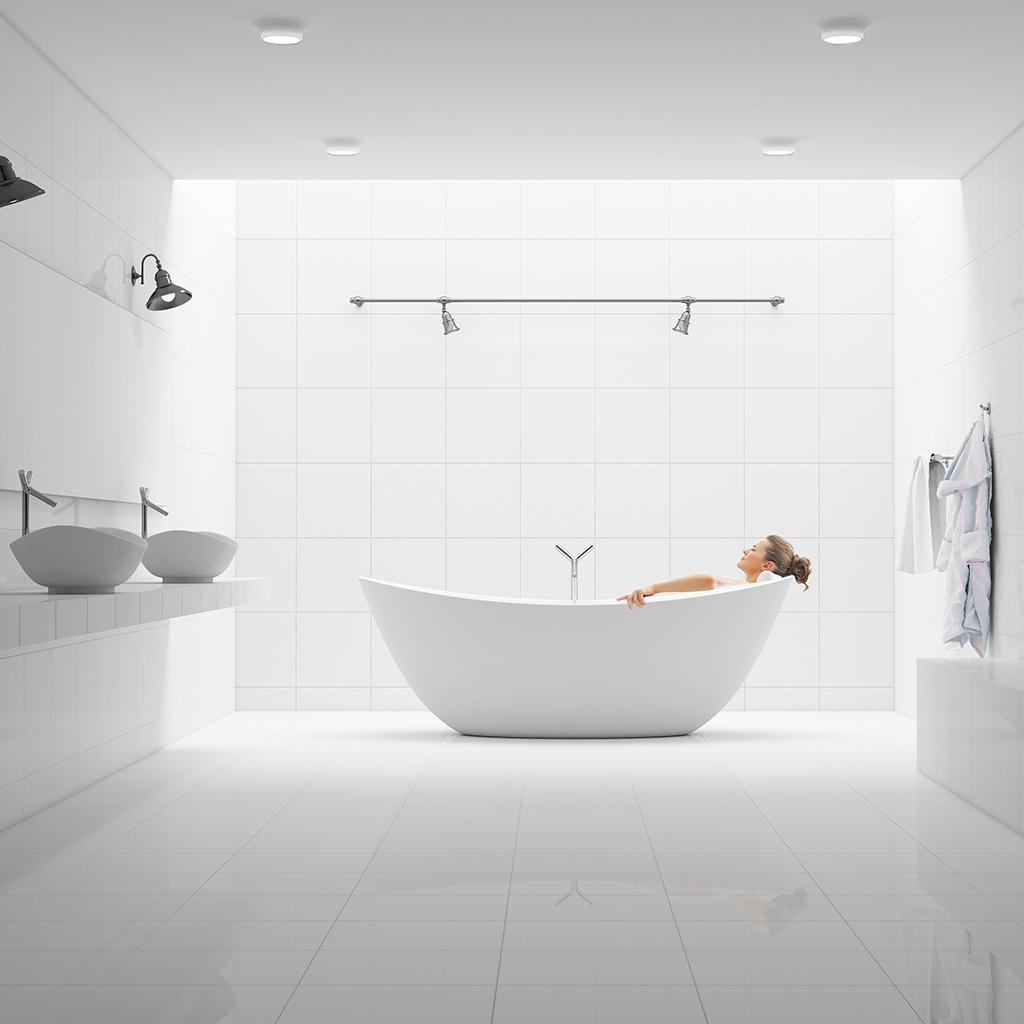 minimalistyczna jasna łazienka projekt
