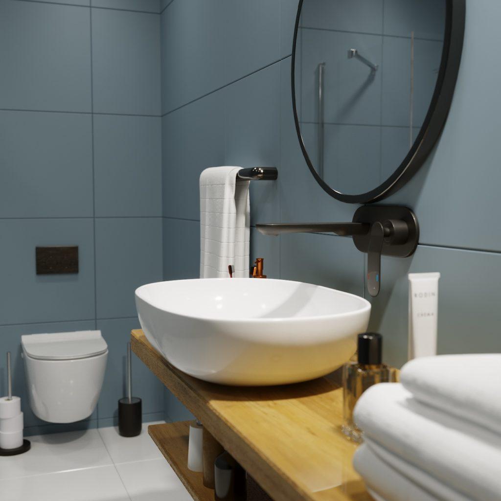 wizualizacja łazienki klasyczne ciemne płytki