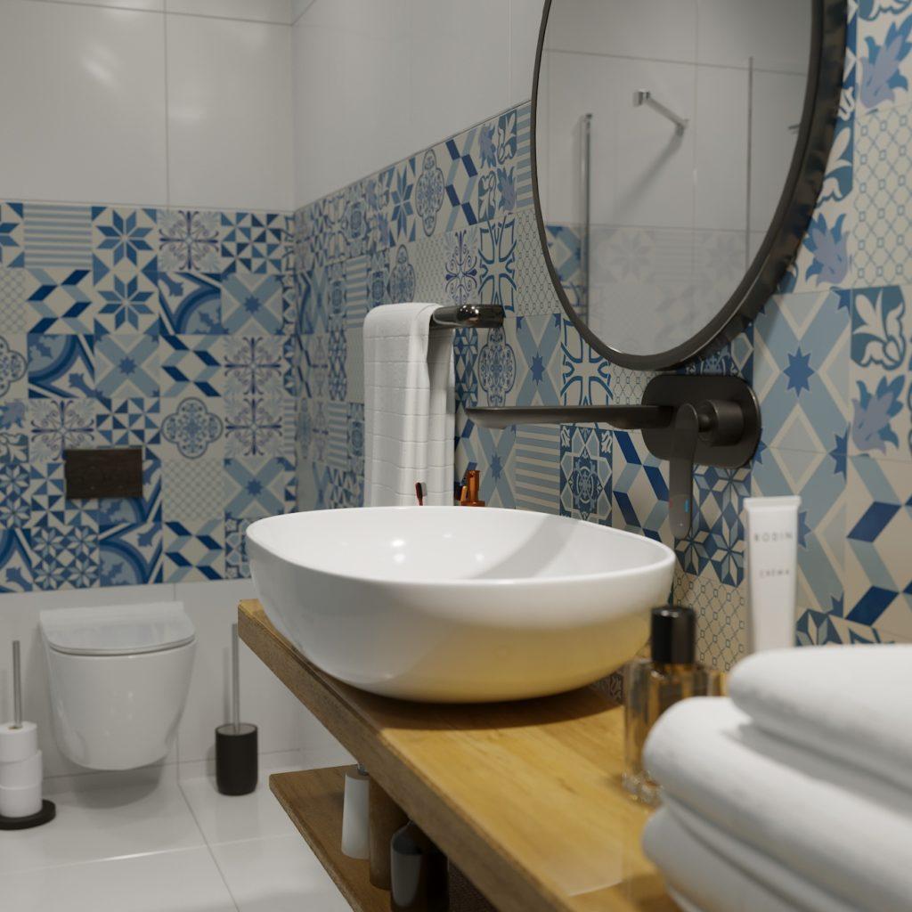 wizualizacja łazienki kolorowe płytki